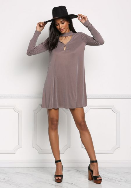 Mocha Choker Cut Out Shift Dress