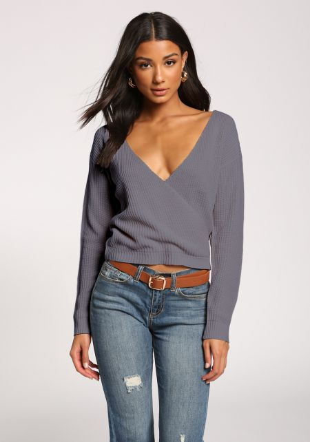 Blue Wide V Surplice Sweater Top