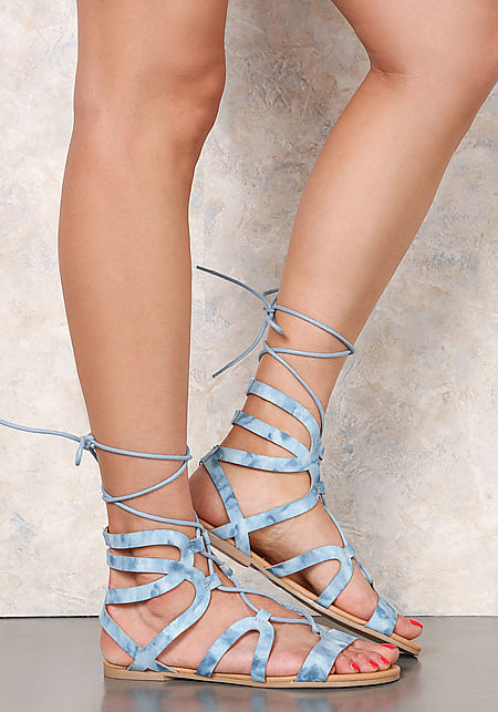 Blue Suedette Acid Wash Lace Up Sandals