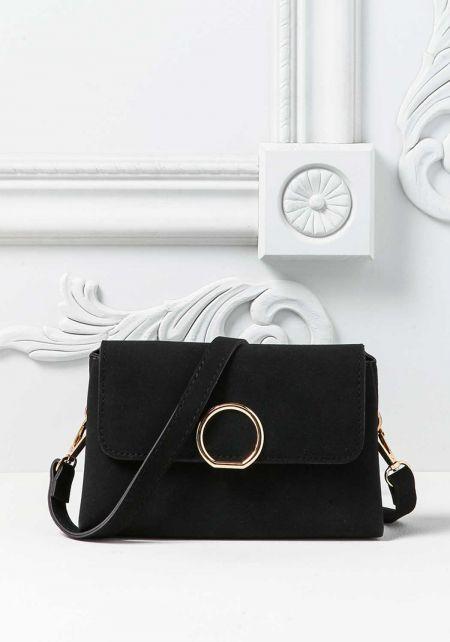 Black Leatherette Mini Crossbody Bag