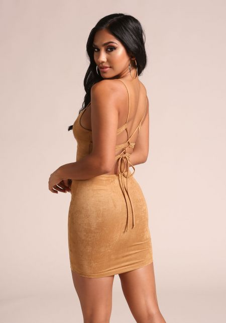 Camel Suedette Back Lace Up Bodycon Dress