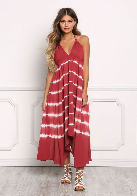Burgundy Tie Dye Stripe Hi-Lo Midi Dress