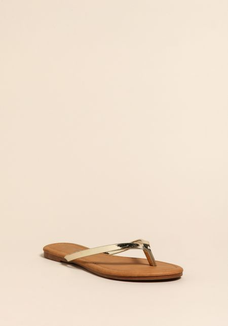Gold Chrome Thong Sandals