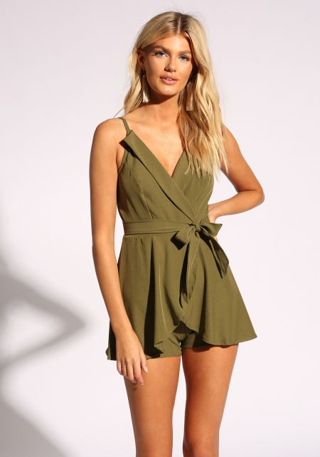 Olive Layered Tie Front Romper