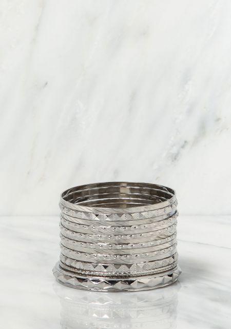 Silver Multi Assorted Bangle Bracelets Set