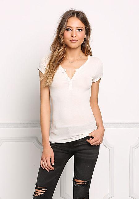 Cream Ribbed Knit T-Shirt