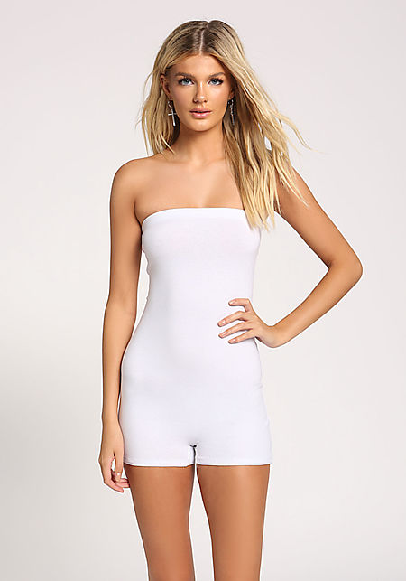 White Strapless Jersey Knit Romper