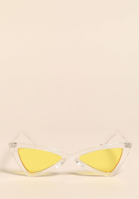 Clear Yellow Colored Geometric Cat Eye Sunglasses