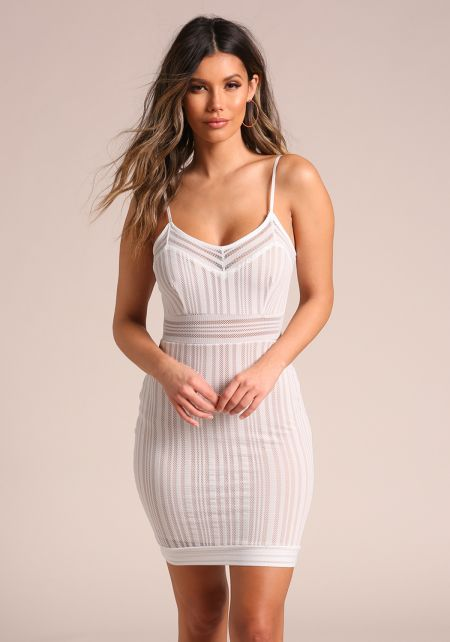 Ivory Mesh Net Bodycon Dress
