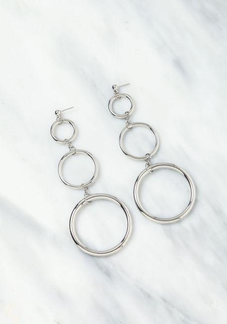 Silver Circle Chandelier Earrings