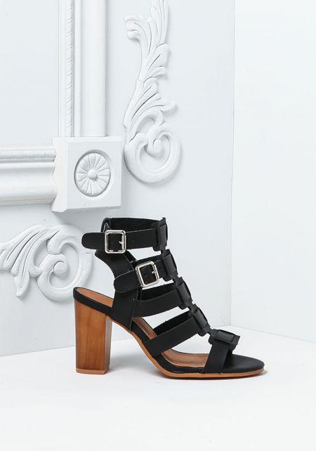 Black Leatherette Buckle Strap Stacked Heels