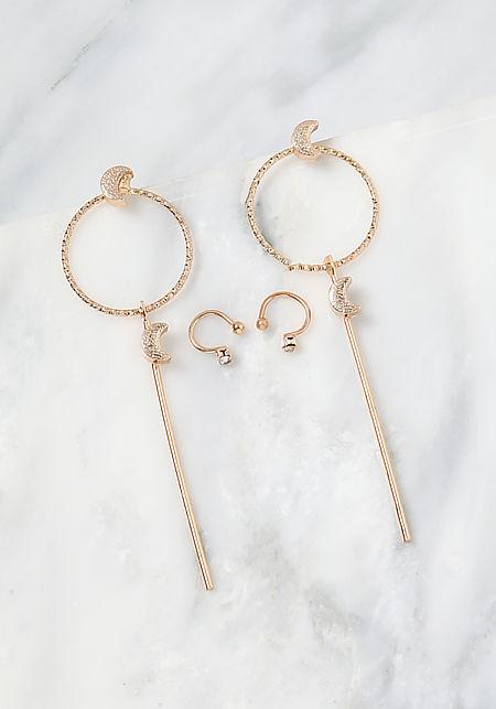 Gold Cuff & Drop Earrings Set