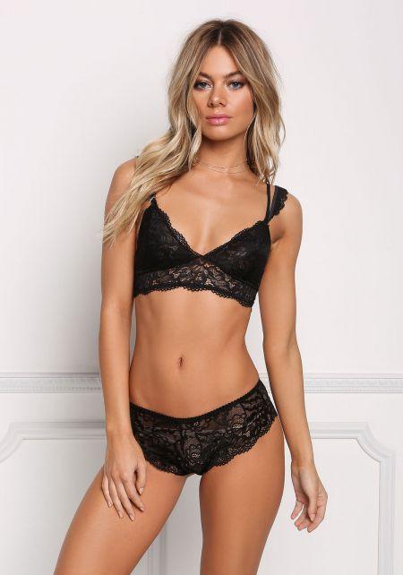Black Double Strap Lace Bralette