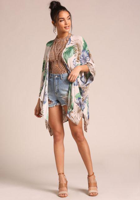 Cream Palm Leaf Pocket Kimono