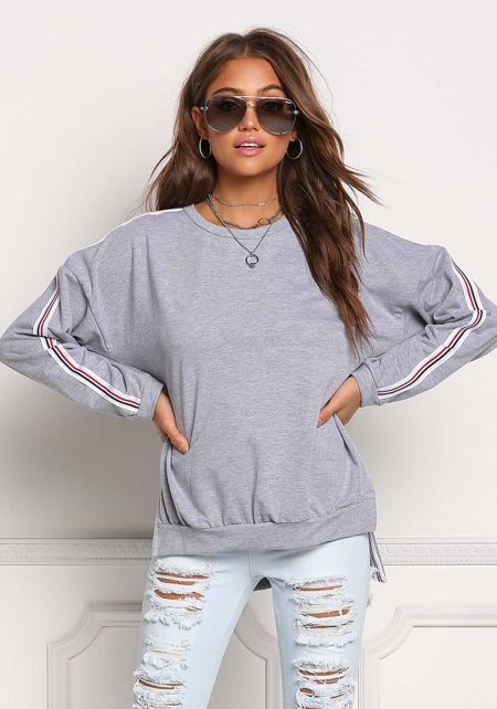 Heather Grey Side Stripe Hi-Lo Pullover Sweater