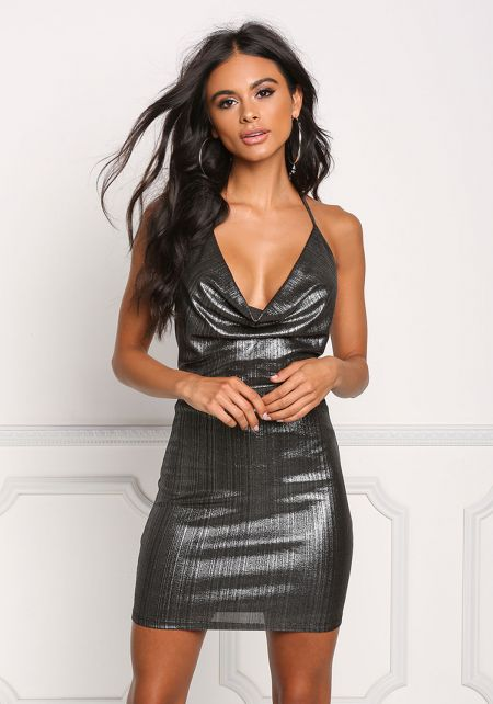 Silver Metallic Plunge Draped Bodycon Dress