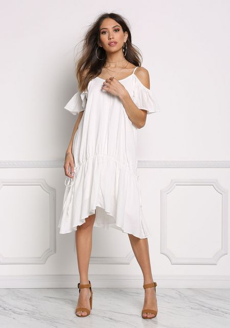 Off White Cold Shoulder Pointed Shift Dress