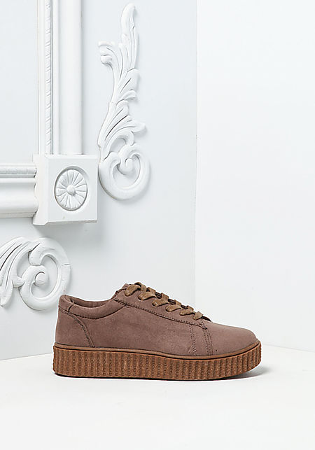 Taupe Two Tone Suedette Platform Sneakers
