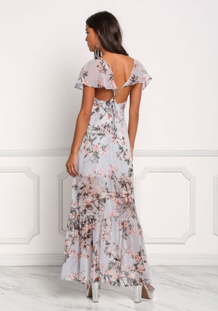 Dusty Blue Chiffon Cross Strap Floral Maxi Dress