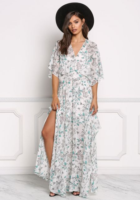 Ivory Chiffon Floral Slit Maxi Dress