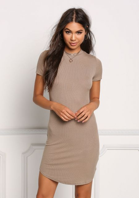 Taupe Ribbed Basic Bodycon Dress