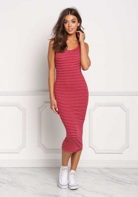 Red Stripe Ribbed Knit Midi Dress
