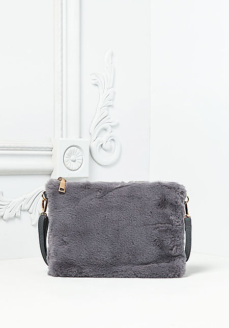 Grey Faux Fur Crossbody Clutch