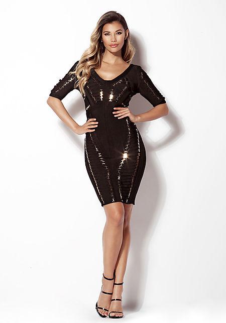 Black Multi Strap Plunge Bandage Dress