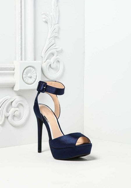 Navy Satin Thick Ankle Strap Heels