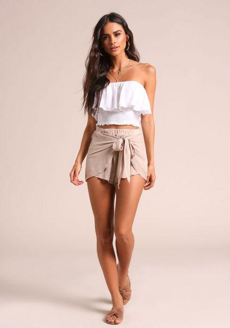 Mocha Crepe Sarong Shorts
