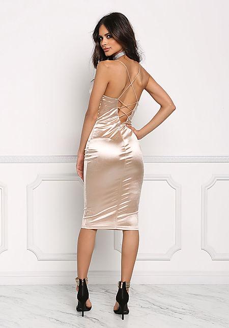 Champagne Satin Cross Strap Plunge Bodycon Dress