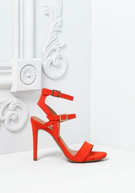 Orange Suedette Double Buckle Strap Heels
