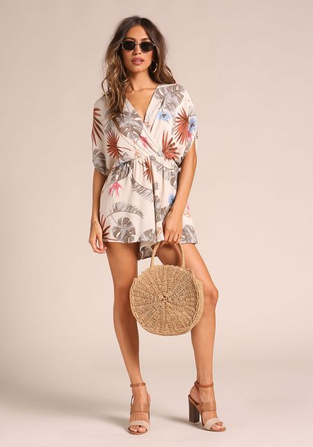 Natural Palm Leaf Crepe Romper