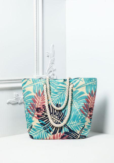 Blue Palm Print Straw Tote