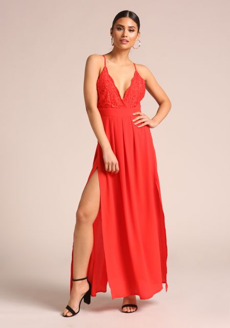 Red Lace High Slit Maxi Dress