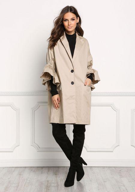 Khaki Ruffle Sleeve Boxy Coat