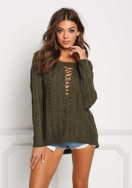 Olive Cable Knit Plunge Cross Strap Sweater Top