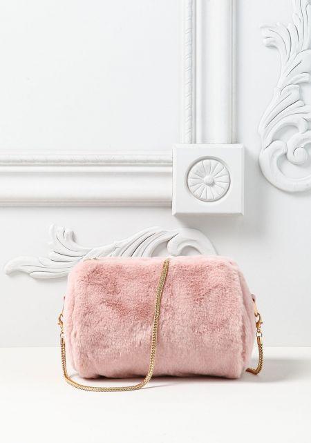 Pink Faux Fur Mini Clutch