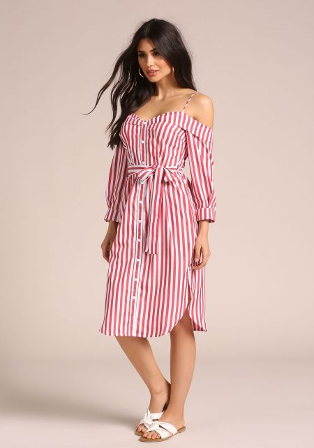 Red Off Shoulder Striped Shirt Dress