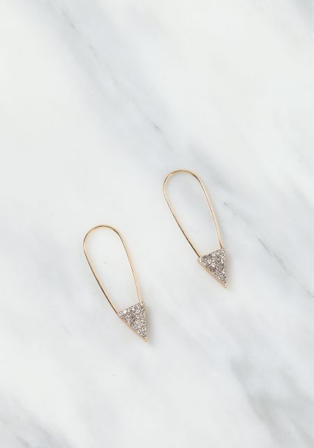 Gold Rhinestone Safety Pin Earrings