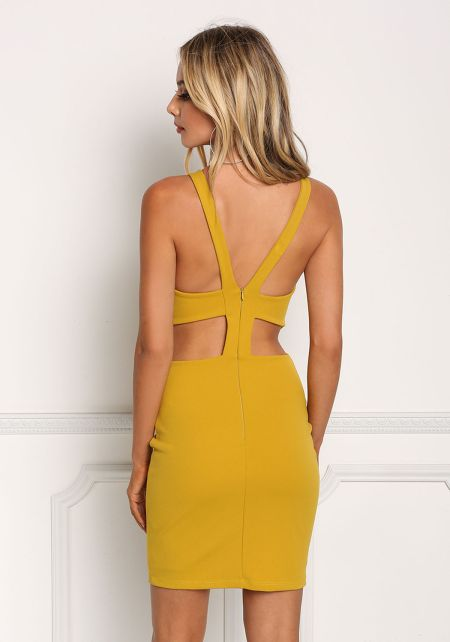 Mustard Back Cut Out Bodycon Dress