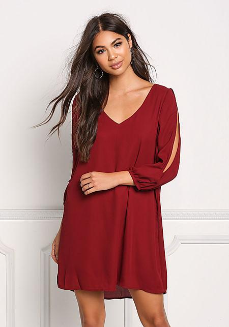 Burgundy Sleeve Slit Chiffon Shift Dress