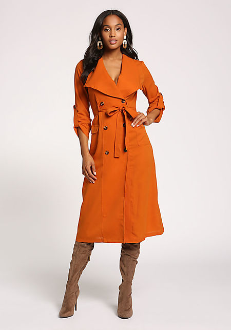 Rust Double Breasted Waist Tie Longlined Trench Co