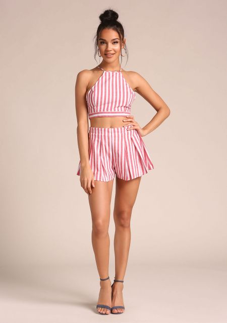 Red Pinstripe Flared Shorts
