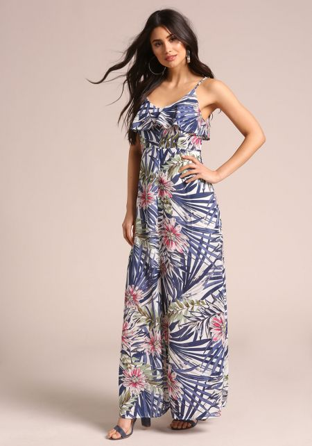 Blue Tropical Floral Maxi Dress