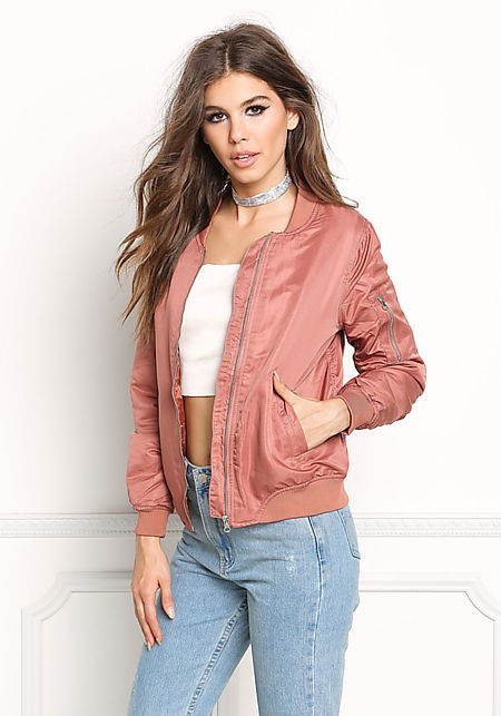Mauve Padded Satin Bomber Jacket