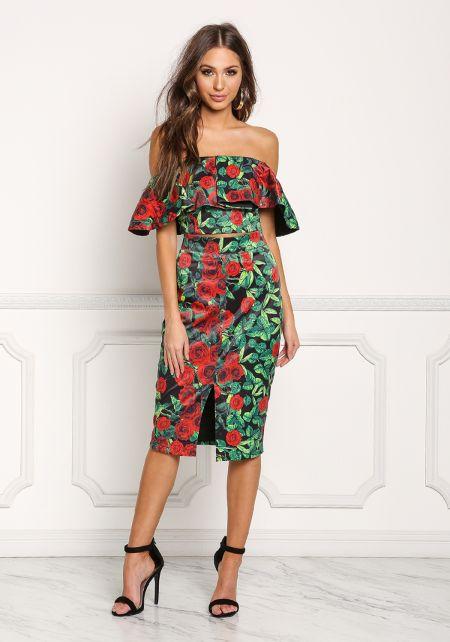 Multi High Rise Slit Rose Pencil Skirt