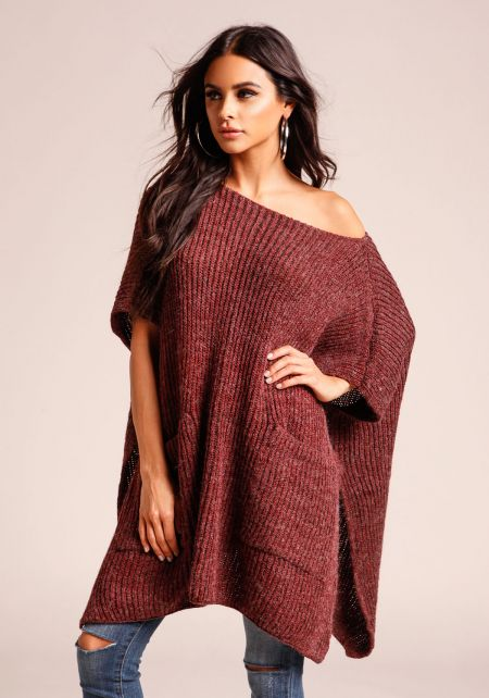 Burgundy Thick Ribbed Knit Pocket Tunic Sweater To