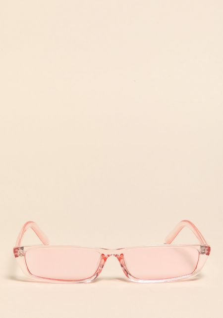 Pink Clear Skinny Rectangular Sunglasses
