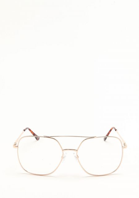 Gold Over Sized Clear Aviator Glasses